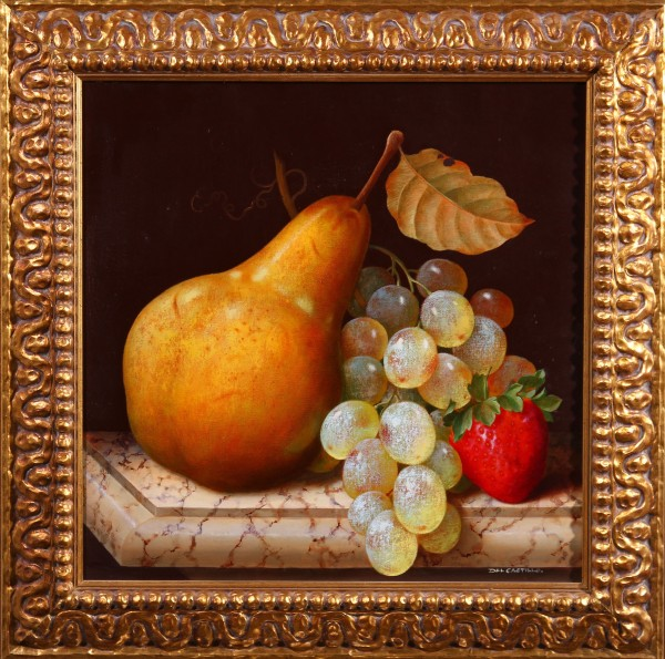 Pera, uvas y fresa
